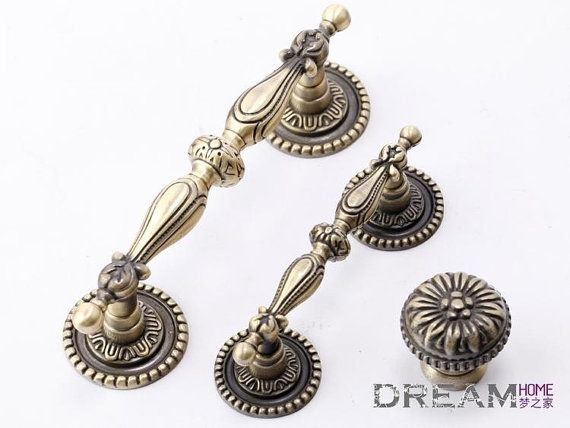 Vintage pattern drawer pulls country style antique brass for Country style kitchen handles