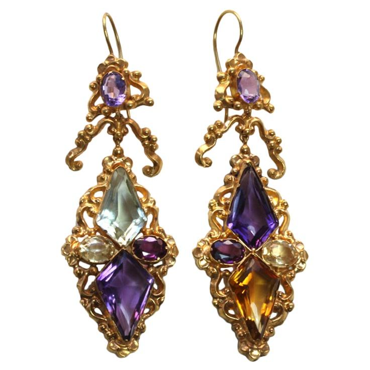 1stdibs | Superb Georgian/Victorian Harlequin Earrings; England c.1840