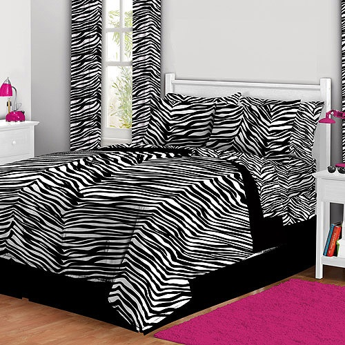 Zebra Bed in a Bag Bedding Set. for AJ add purple accents and for Netalie add Pink accents.
