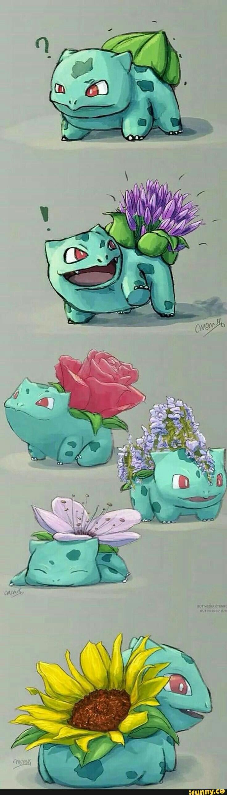 Bulbasaur, flowers, cute; Pokémon