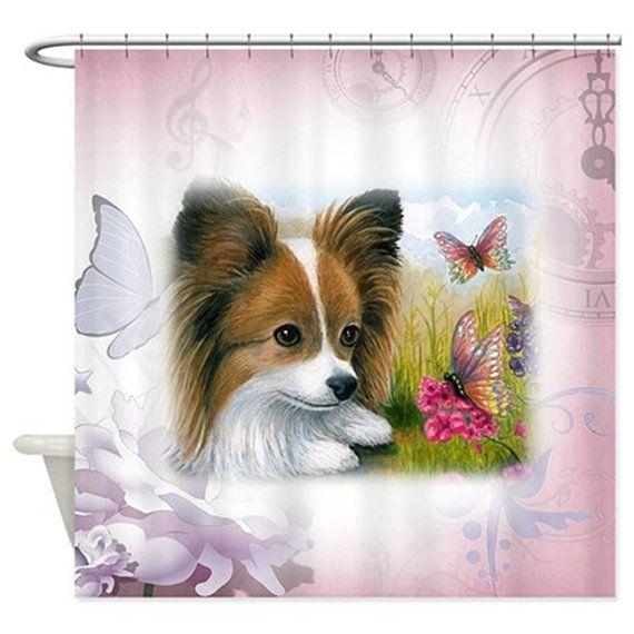 Funny Shower Curtains Art Shower Curtain Bathroom Dog 123 Papillon by artbyLucie