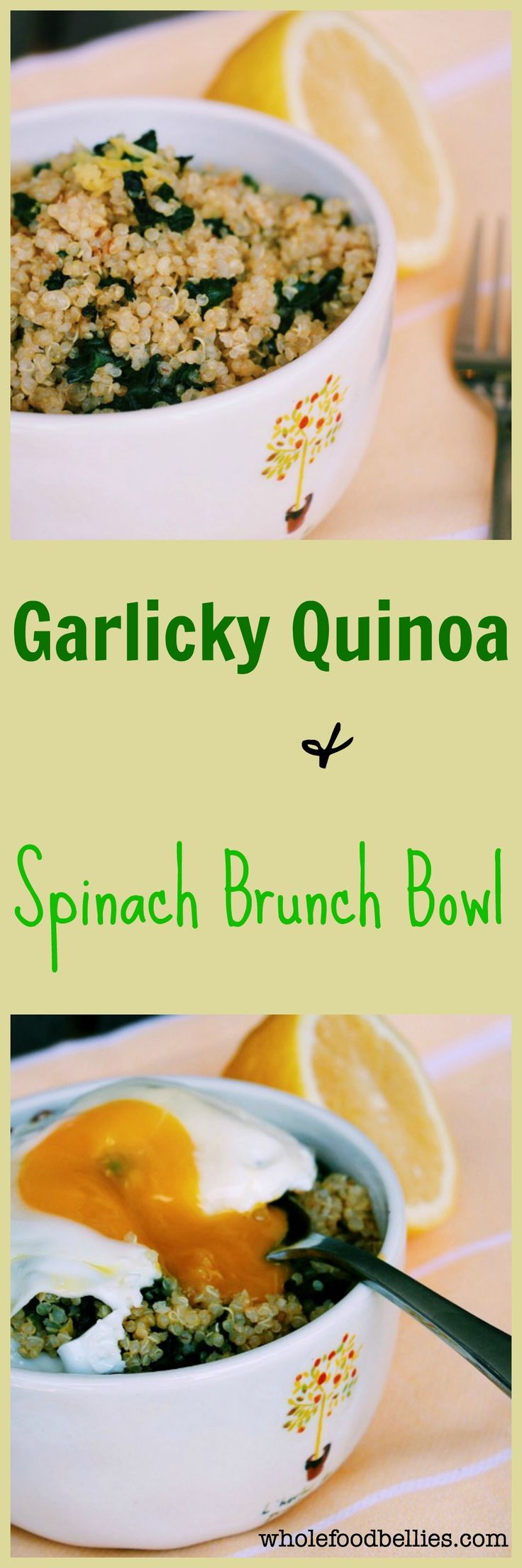 Garlicky Quinoa and Spinach Bowl. Simple and delicious one pot brunch bowl