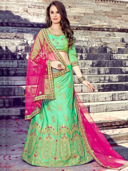 d26c2057a2 #threadsutra #wedding #dresses - Light Green Art Silk Lehenga Blouse Rani  Pink Net Dupatta