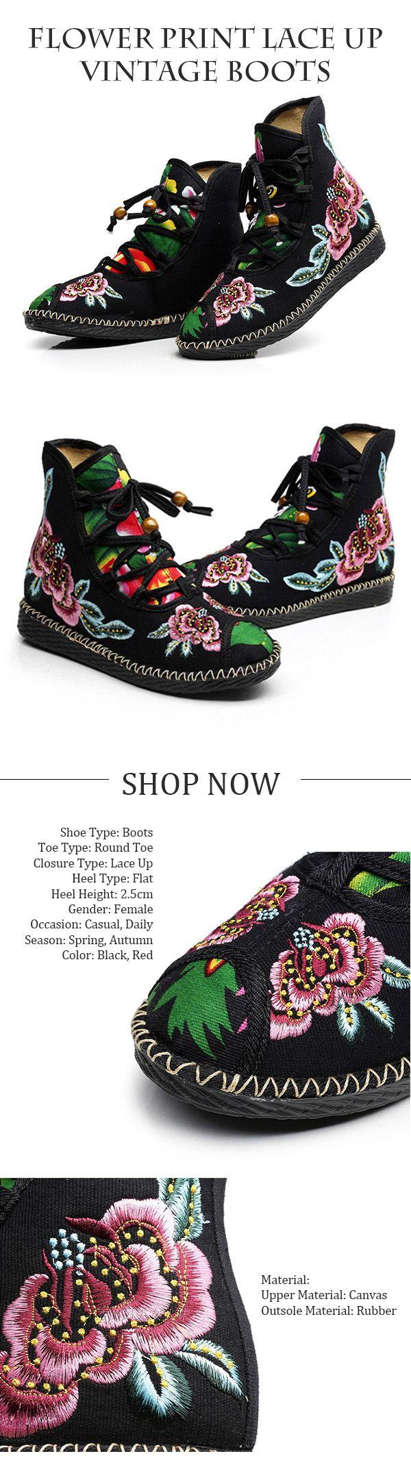 US$21.75 Flower Print Lace Up Vintage Boots