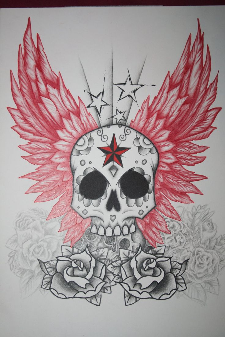 Wing tattoo design - Skull And Wings Tattoo Design By Itchysack Designs Interfaces Tattoo
