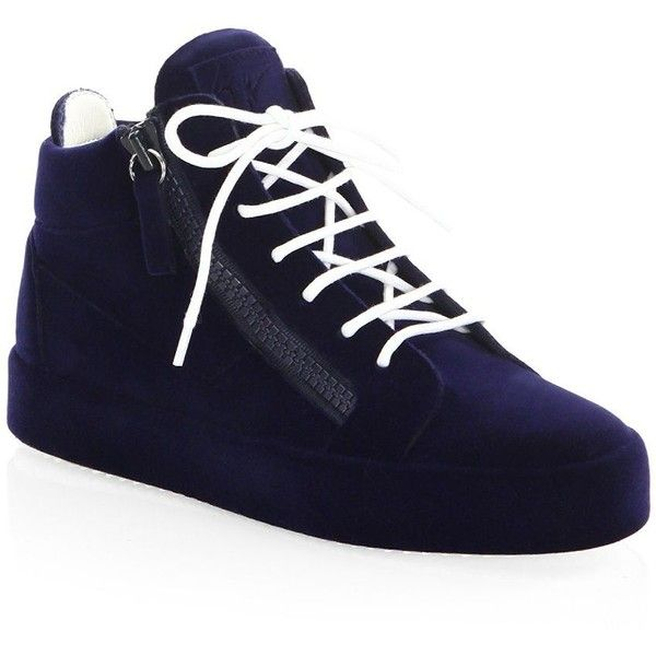 Giuseppe Zanotti Round Toe Mid-Top Sneakers ($825) ❤ liked on Polyvore featuring shoes, sneakers, rubber sole shoes, round toe sneakers, velvet sneakers, lace up sneakers and laced sneakers