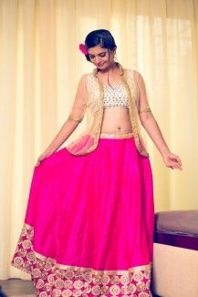 Pink Lehenga And Silver Blouse Set  Rs. 23,594