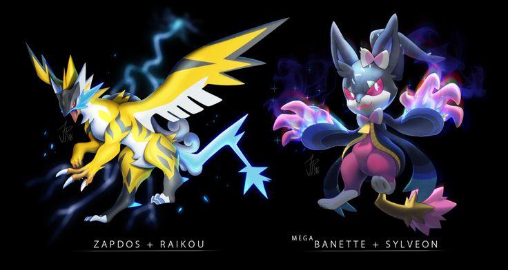 e621 claws eeveelution feral fusion legendary_pokémon mega_banette mega_evolution nintendo pokémon raikou sylveon syntheticimagination video_games wings zapdos