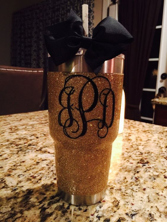 Glitter Yeti Rambler in Gold  with Lid by GlitterYeti on Etsy