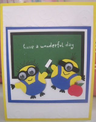 Stampin' Up Owl Punch - First Day School Minion Card