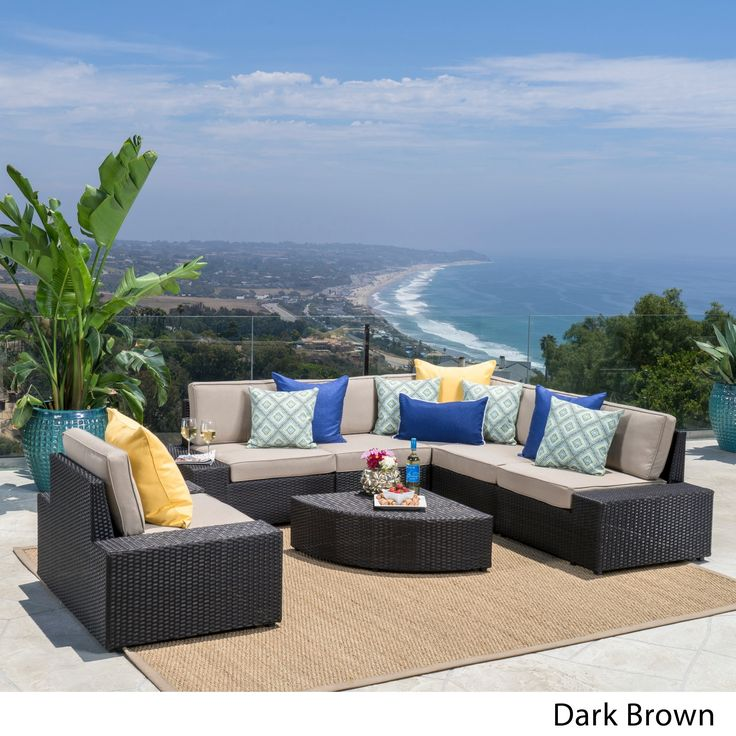 Santa Cruz Outdoor 7 Piece Wicker Sofa Set With Cushions By Christopher  Knight Home (