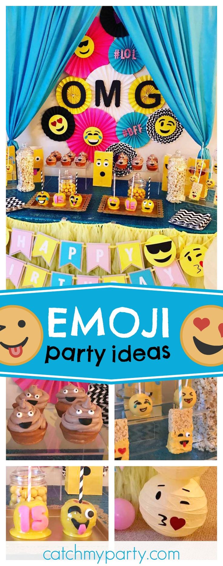 Check out this fun Emoji birthday party! The emoji candy apples are so cool!! See more party ideas and share yours at CatchMyParty.com#emojis #instagram #whatsapp