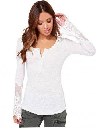 Slim Women Knit Mesh Stitching Lace Split Long Sleeve Swallowtail Shirts