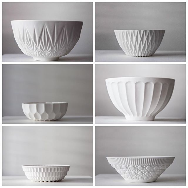 Textired bowls by @porcelainfork