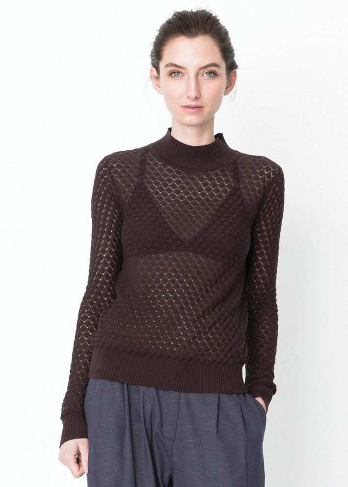 Storm & Marie Bluse brun 22071 Elena TN Turtleneck strik - seal brown – Acorns