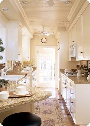Kitchens Kitchens KitchensDreams Kitchens, Kitchens Design, Countertops, Narrow Kitchens, Kitchens Ideas, Ceilings, Galley Kitchens, White Cabinets, White Kitchens