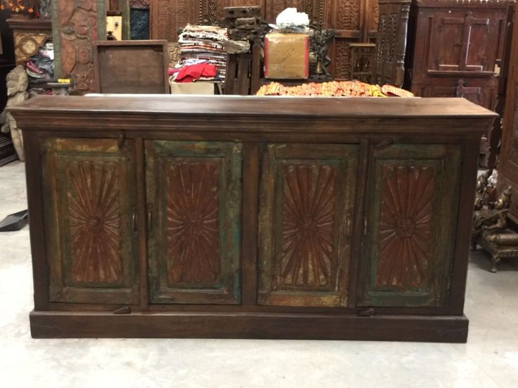 Antique Floral Carved Chest Red Green Chakra Sideboards Chest Console Buffet | eBay    http://stores.ebay.com/mogulgallery/Sideboards-/_i.html?_fsub=1109606219&_sid=3781319&_trksid=p4634.c0.m322