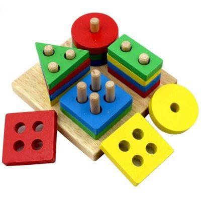 Educational Wooden Four Column Set for Children #Toys_&_Hobbies #Puzzle_&_Educat…
