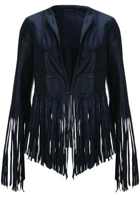 Fringe Leather Jacket, $370: Kate Moss for Topshop | Boca Raton Magazine