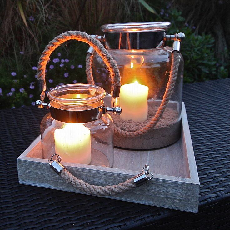 salcombe rope handled hurricane lamp by london garden trading | notonthehighstreet.com