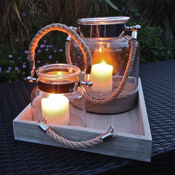 salcombe rope handled hurricane lamp by london garden trading | notonthehighstreet.com