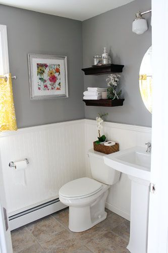 Small Bathroom Gray Floor: It's Just Paper: At Home: Powder Room Renovation
