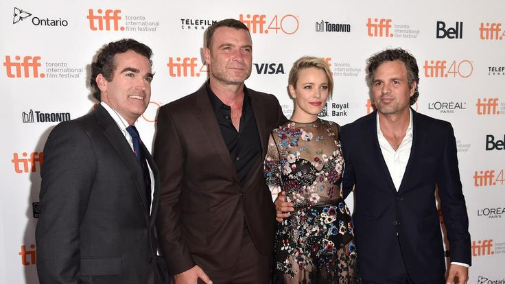 "Actors Brian d'Arcy James, left, Liev Schreiber, Rachel McAdams and Mark Ruffalo attend the ""Spotlight"" premiere. Toronto International Film Festival 2015"