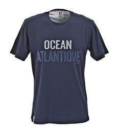 T-shirt Océan Atlantique 100% coton avec empiècements en voile de bateaux recyclée