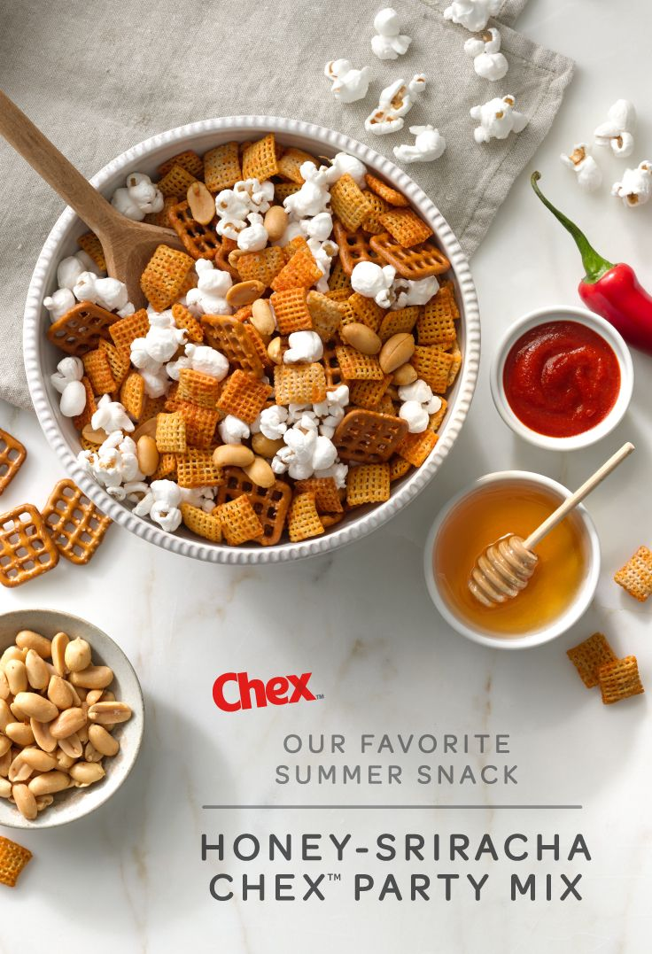 Serve a crowd with this simple Honey-Sriracha Chex Mix! A handful of ...
