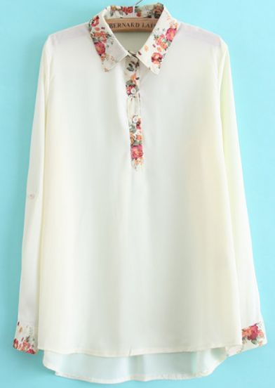 White Lapel Long Sleeve Floral Dipped Hem Blouse, €15.74