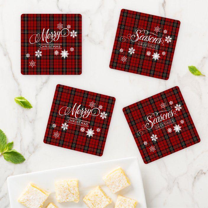 Festive Christmas Plaid Coaster Set   Zazzle.com in 2021 ...