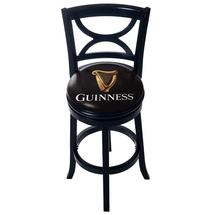 Guinness Swivel Wood Bar Stool with Back by Trademark Gameroom