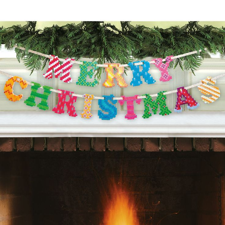 The spirit of the season comes alive with this colorful Merry Christmas Garland made with Perler beads. String the letters in two pieces or one to fit a mantel, window, wall, even the tree! Designed By Lennis Rodriguez.