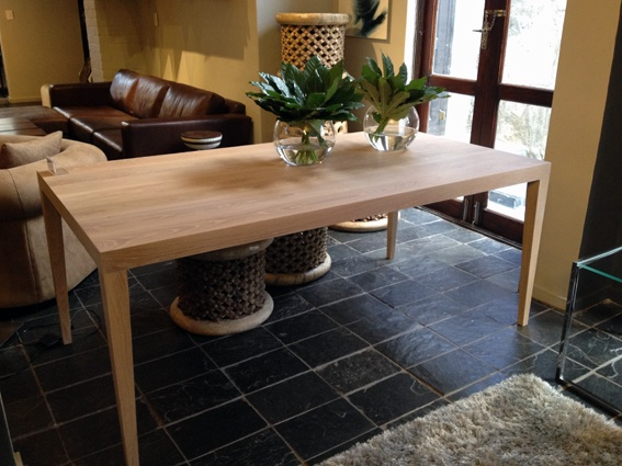 tapered leg dining table in white wash oak, from Klooftique