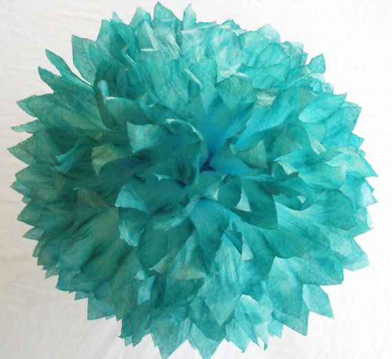 Ombre Teal Blue Pom /  Teal Wedding Decorations  / by HandDyedPoms, $3.00