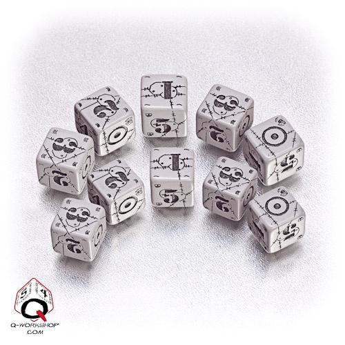 Gray-black British battle dice set