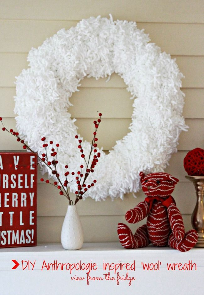 Anthropologie Inspired 'Wool' Wreath. Beautiful and GREAT TUTORIAL!! Make one this season!