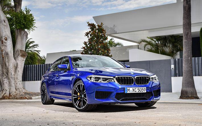 Hämta bilder BMW M5, 4k, F90, Bilar 2018, blå m5, sedaner, tyska bilar, BMW