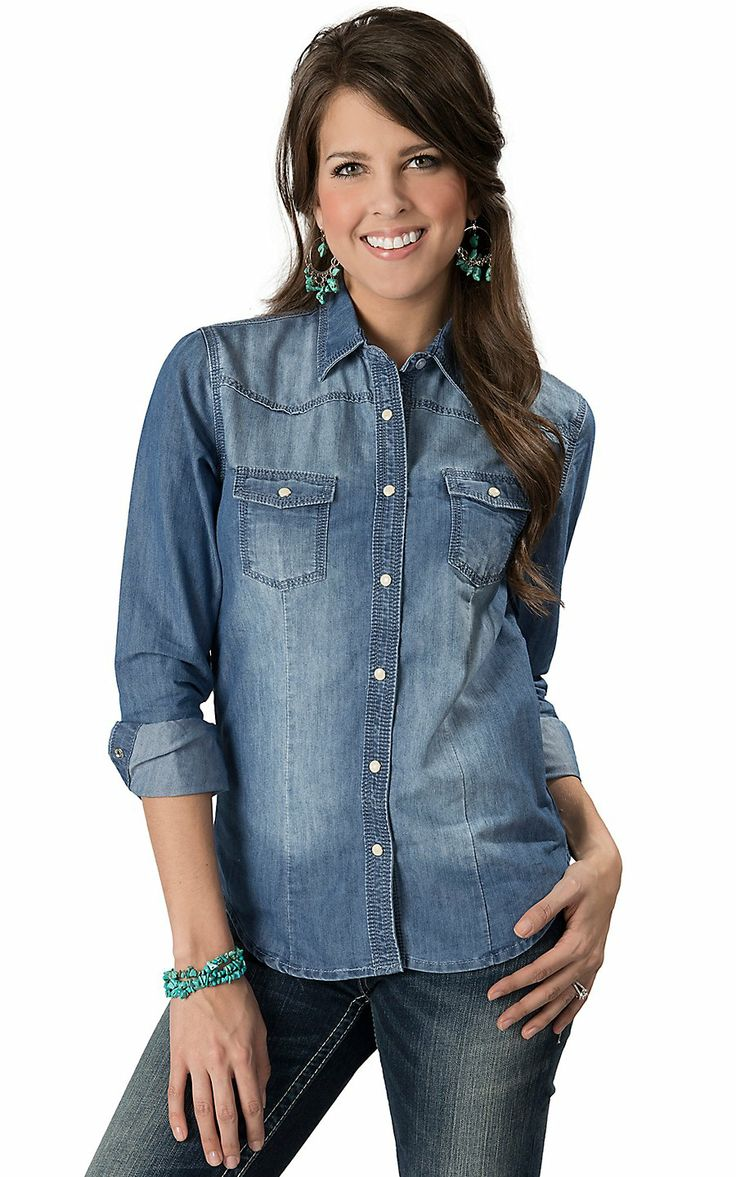 wired heart women 39 s faded denim long sleeve western shirt