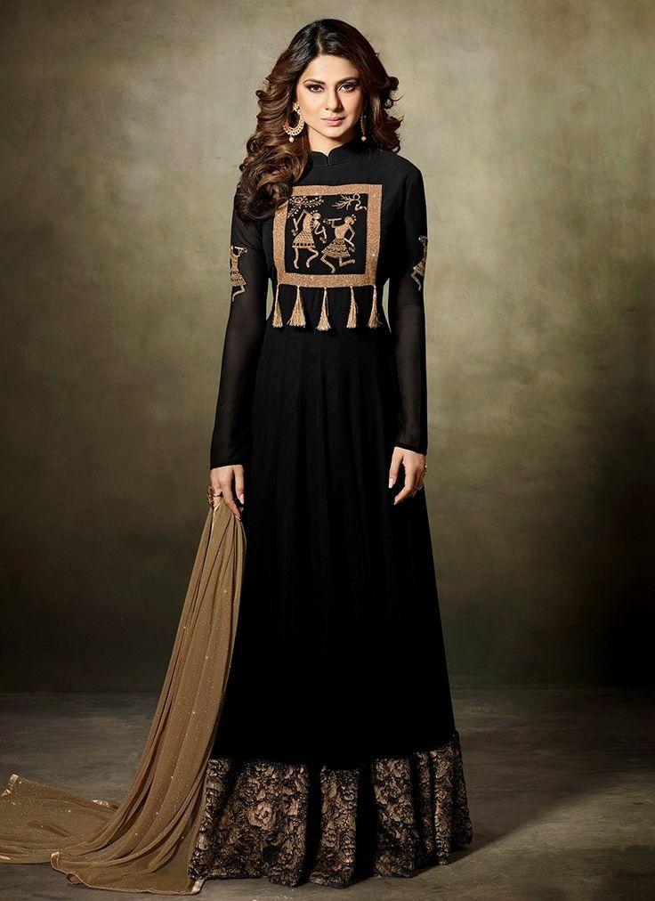 Shop online impeccable Jennifer Winget black faux georgette floor length anarkali suit. Huge collection of latest designs. Order online now.