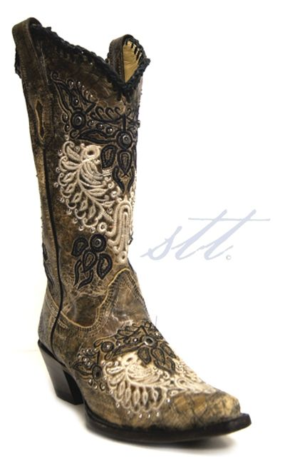 Corral Women's Black Antique Wing & Stud Cowgirl Boots -- These boots are absolutely breathtaking, just like you! | SouthTexasTack.com