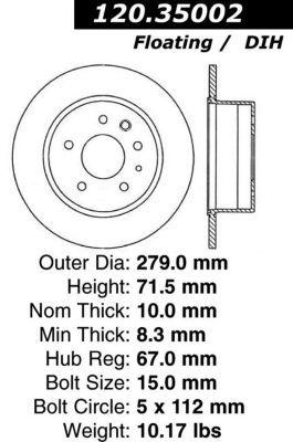 1976-1980 Mercedes Benz 450SL Brake Disc Centric Mercedes Benz Brake Disc 120.35002 76 77 78 79 80