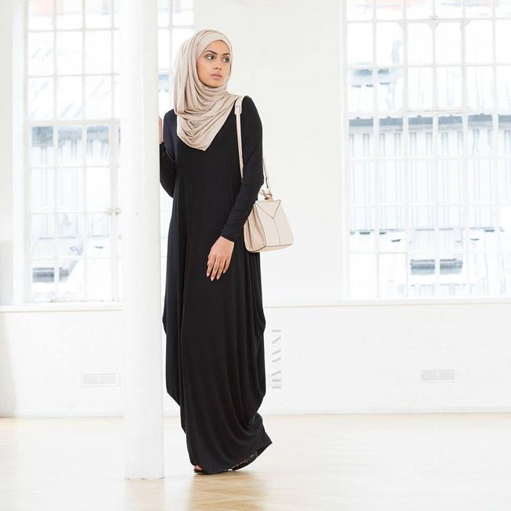 INAYAH | Black Cascade Abaya paired with the Washed Mink Maxi Jersey hijab
