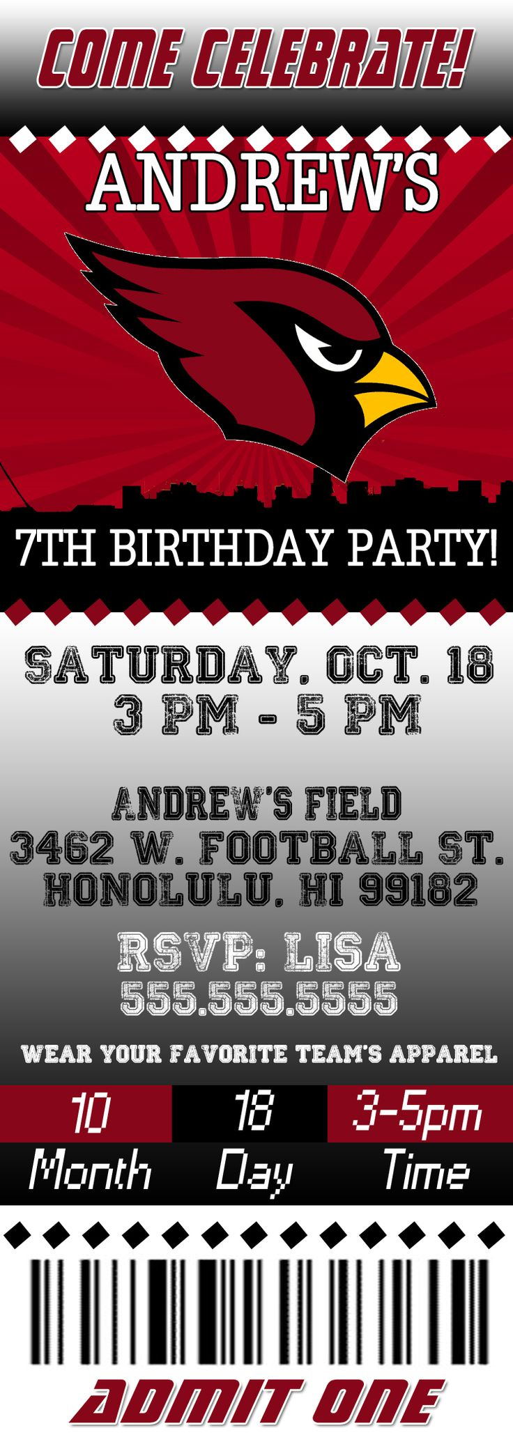 NFL Arizona Cardinals Ticket Birthday Invitation