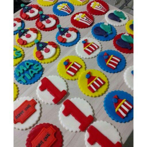 Toppers para cupcakes y para galletas!! FIESTA CIRCO!! #CupcakesCirco #GalletasDulcycandy #GalletasPalmira Fiestas temáticas y PERSONALIZADAS!! Primer añito de matias