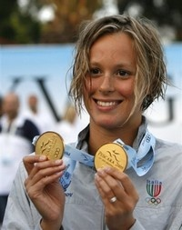 Federica Pelligrini, Italy, 23, born near Venice has made her name as the country's most successful female swimmer. She currently holds the world record in the 200 and 400 freestyle, as the first woman to go under 4 minutes in the 400m.