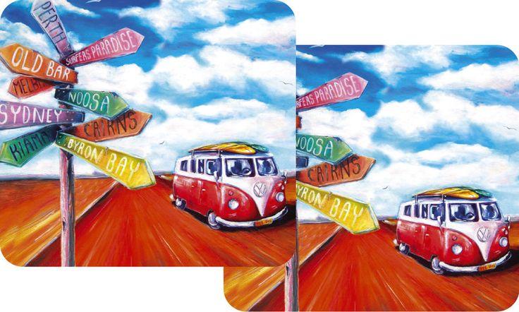 VW Kombi Summer Road Trip - set of 2 drink coasters - Australia tableware Design