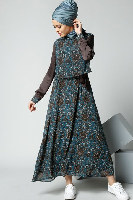 Refka Kahverengi Desenli Elbise 99.90 TL  http://alisveris.yesiltopuklar.com/refka-kahverengi-desenli-elbise.html