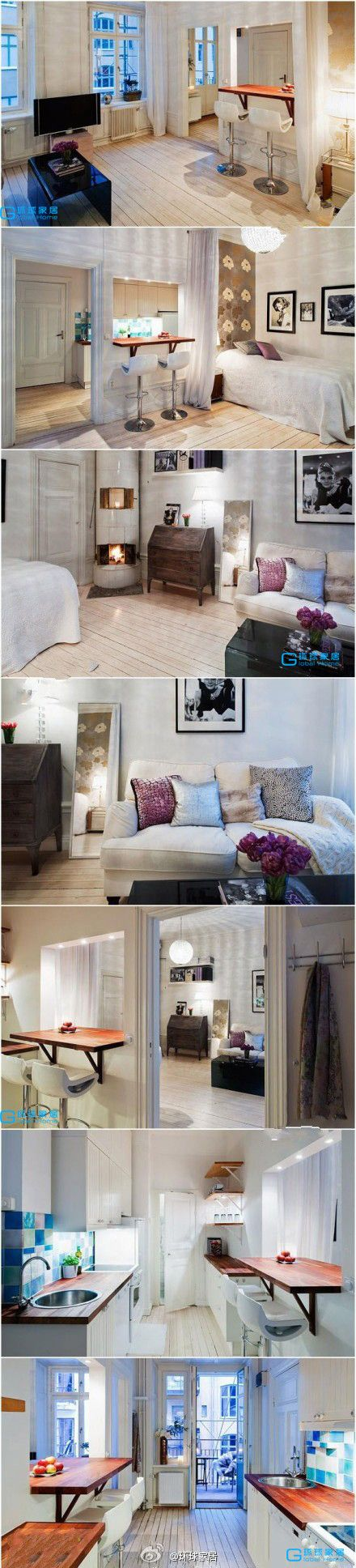 All in 420 square feet. I love how the dinning space is divided between two rooms. Brilliant!!