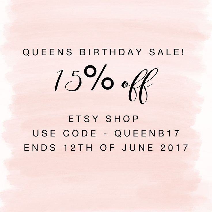 ONLY A FEW HOURS LEFT!!!!!   It's the queens birthday and we are a looking for a reason to celebrate!!!   15% off our etsy shop!!   Use code- QUEENB17   Don't miss out! Ends this weekend 👌🏻  Happy shopping  Axx